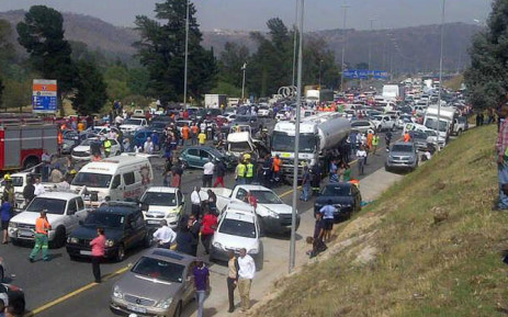 A tanker ploughed into several cars near the Voortrekker Road offramp during rush hour traffic. Picture: @OF_THE_SOUTH