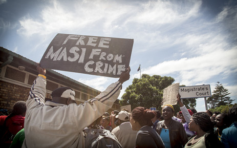 Masiphumelele residents gathered outside Simon's Town Magistrates Court in support of community activist Lubabalo Vellem. Picture: Thomas Holder/EWN.
