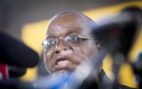 Always in the spotlight, surrounded by journalists and microphones, outgoing ANC secretary-general Gwede Mantashe makes his last press briefing on 18 December 2017. Picture: Thomas Holder/EWN.