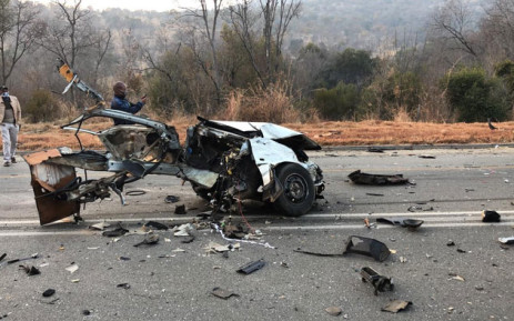 The wreckage of a Toyota Tazz that was involved in a collision on the R512 near Lanseria. Picture: SRU HiRisk