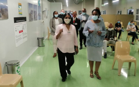 State Security Minister Ayanda Dlodlo (right) during an inspection of Groote Schuur Hospital ahead of COVID-19 vaccine rollout in Cape Town on 3 May 2021. Picture: Kaylynn Palm/Eyewitness News