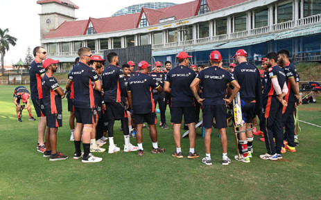 Royal Challengers Bangalore huddle up for a team talk. Picture: @RCBTweets/Twitter