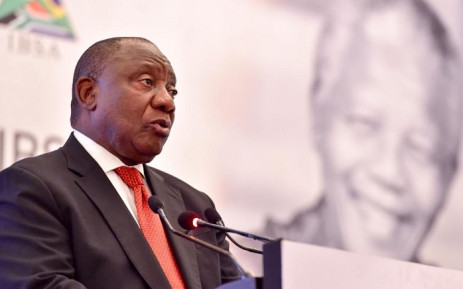 President Cyril Ramaphosa delivers the First IBSA Gandhi-Mandela Memorial Freedom Lecture in Delhi, India. Picture: @Presidency/Twitter