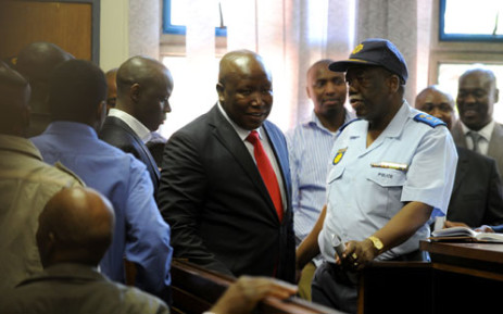 Expelled ANC Youth League president Julius Malema appears in the Polokwane Regional Court in Limpopo on Wednesday, 26 September 2012. Malema is accused of money-laundering. He handed himself over to the Polokwane police on Wednesday morning before his court appearance. Picture: Werner Beukes/SAPA