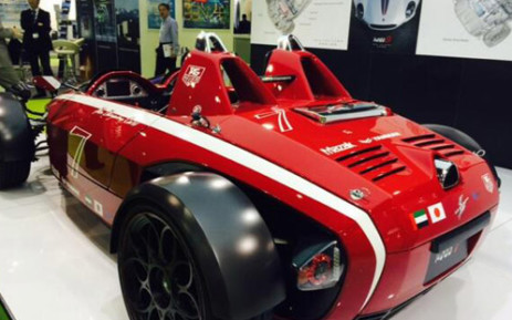 A car, made by the designers of ferrari and maserati at the World Energy Summit in Abu Dhabi. Picture: Belinda Moses