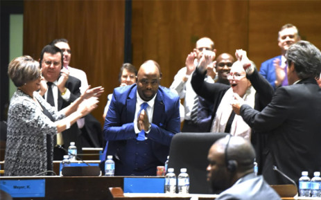 Stevens Mokgalapa celebrates following his election as executive mayor of the City of Tshwane on 12 February 2019. Picture: Democratic Alliance