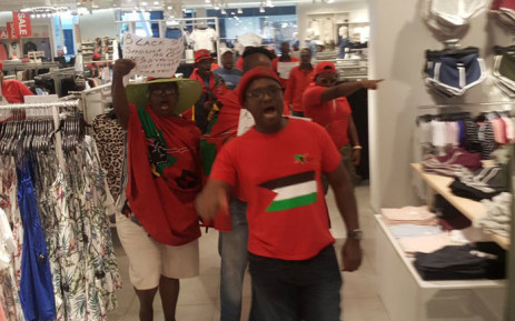 EFF members protest in H&M store at Mall of the SOuth against racist advert. Picture: EFF.