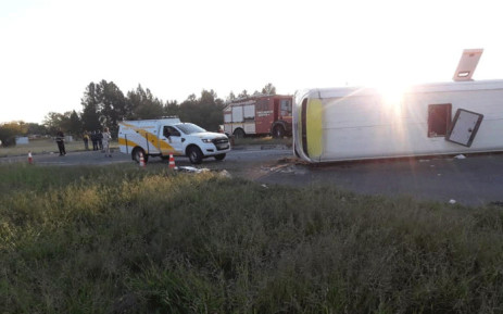 A bus that overturned in Welkom resulting in nine people dead and 46 injured. Picture: Free State Department of Health/Facebook.