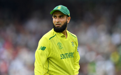 South Africa's Imran Tahir looks on as he finishes his ten overs during the 2019 Cricket World Cup group stage match between Pakistan and South Africa at Lord's Cricket Ground in London on 23 June 2019. Picture: AFP