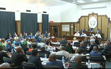 A screengrab of the Nelson Mandela Bay council as they debate a motion of no confidence against Mayor Athol Trollip.
