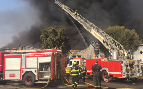 Firefighters battle a blaze at a factory in Kya Sand on 5 September 2018. Picture: Christa Eybers/EWN