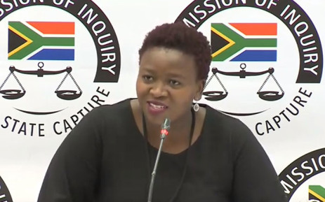 A YouTube screengrab shows Phumeza Nhantsi at the state capture inquiry on 18 June 2019.