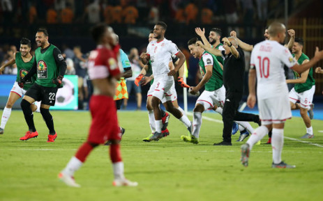 Tunisia players celebrate their Africa Cup of Nations quarterfinal victory over Madagascar in Cairo on 11 July 2019. Picture: @CAF_Online/Twitter