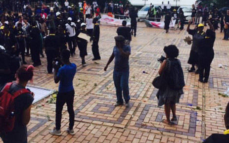 FILE: Dozens of students, workers and academics demonstrate against the use of private security at Wits University. Picture: Ziyanda Ncgobo/EWN.