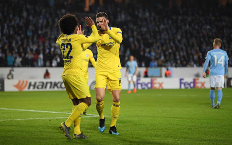 Chelsea's Willian and Olivier Giroud celebrate a goal in their UEFA Europa League match against Malmo on 14 February 2019. Picture: @ChelseaFC/Twitter