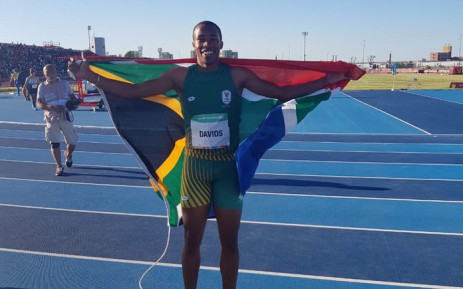 Youth Olympics 100m champion Luke Davids. Picture: @TeamSA18/Twitter
