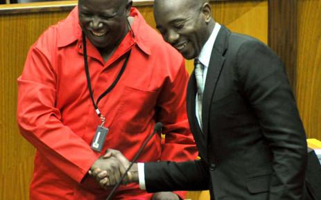 EFF leader Julius Malema and DA Parliamentary Leader Mmusi Maimane at the Sona debate on 18 June 2014. Picture: GCIS.