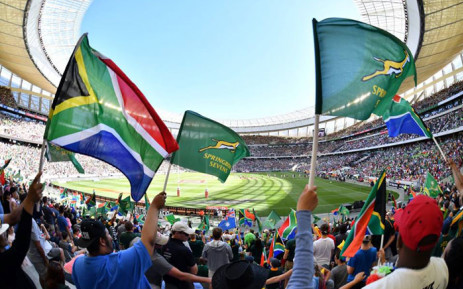 South African fans wave flags as the Blitzboks received bronze at the World Sevens Series on 9 December 2018. Picture:  @BlitzBokke/Twitter