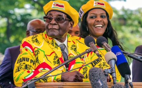 FILE: Former Zimbabwe President Robert Mugabe (left) and his wife Grace Mugabe at a Zanu-PF rally on 8 November, 2017. Picture: AFP