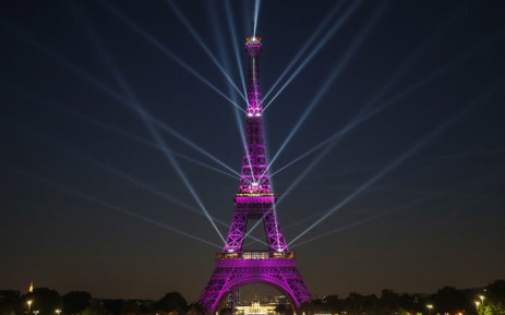 A picture taken on 15 May 2019 shows the Eiffel Tower during a light show celebrating the 130th anniversary of its construction, in Paris. Picture: AFP