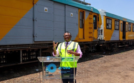 Transport Minister Fikile Mbalula gives an update on Prasa at a media briefing at the Braamfontein staging yard on 15 January 2020. Picture: @FikileMbalula/Twitter
