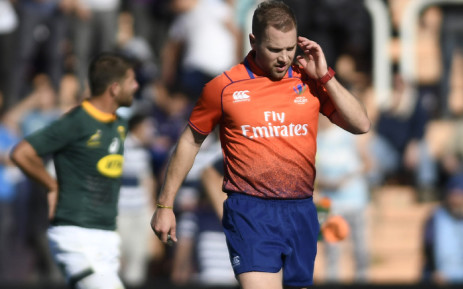 FILE: Australian referee Angus Gardner gestures during a Rugby Championship 2018 test match between Argentina and South Africa at Malvinas Argentinas stadium in Mendoza, some 1050 km west of Buenos Aires, Argentina on 25 August 2018. Picture: AFP