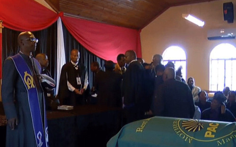 The funeral of Zondeni Sobukwe was disrupted by a group wearing PAC T-shirts on 25 August 2018. Picture: SABC Digital News/youtube.com