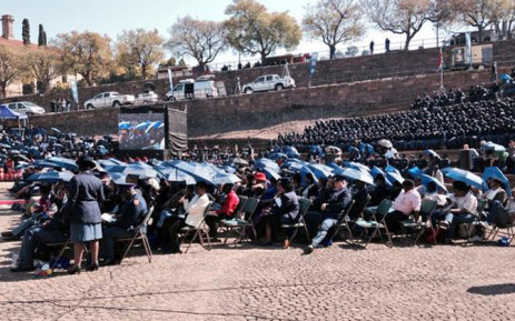 The children and widows of police officers killed in the line of duty at the Union Buildings on 07 September, 2014. Picture: Lesego Ngobeni/EWN.