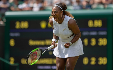 Serena Williams celebrates win at Wimbledon. Picture: @Wimbledon/Twitter