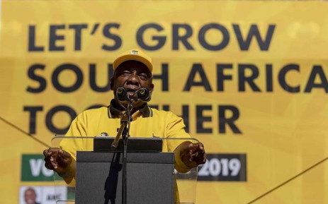 President Cyril Ramaphosa addresses thousands at the ANC Siyamnqoba rally at Ellis Park in Johannesburg on 5 May 2019. Picture: Thomas Holder/EWN
