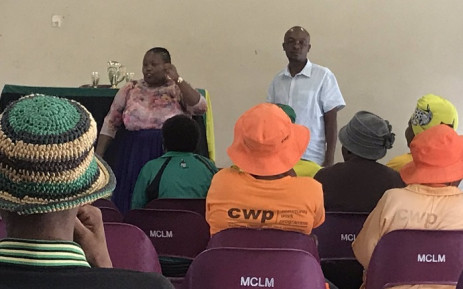Parks Tau a member of the Gauteng provincial committee and Community Safety MEC Sizakele Nkosi-Malone addressing a number of ANC supporters ahead of the final registration weekend on the 25-26 January. Picture: Bonga Dlulane/EWN