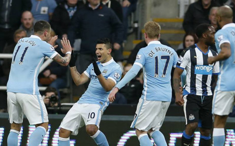 Manchester City's Sergio Aguero celebrates with team mates after scoring against Newcastle United in the English Premier League on 19 April 2016. Picture: Manchester City official Facebook page.