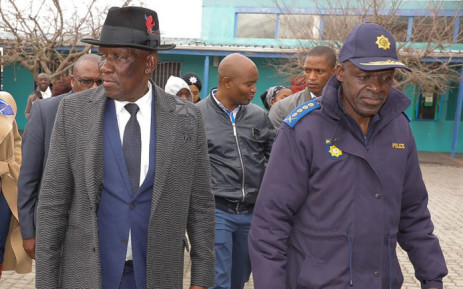 Police Minister Bheki Cele and National Police Commissioner General Khehla Sitole during a visit to Philippi East, Cape Town on 8 July 2019. Picture: @SAPoliceService/Twitter