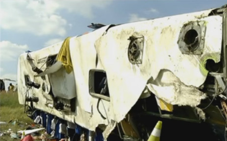 At least 10 people were killed on 17 April 2016 when the bus was returning to Gauteng from the ANC's election manifesto in Port Elizabeth. Picture: YouTube screengrab.