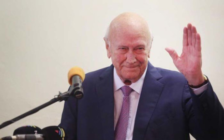 Former President FW De Klerk, on Wednesday, addressed the Cape Town Press Club reflecting on the country's progress since its first democratic election in 1994. Picture: Bertram Malgas/EWN.