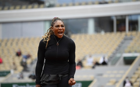 Serena Williams of the US reacts as she plays against Kristie Ahn of the US during their women's singles first round tennis match at the Philippe Chatrier court on Day 2 of The Roland Garros 2020 French Open tennis tournament in Paris on 28 September 2020. Picture: @rolandgarros/Twitter