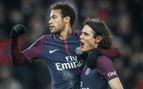 PSG forwards Neymar (left) and Edison Cavani celebrate a goal. Picture: @neymarjr/Twitter