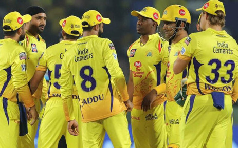 Chennai Super Kings players celebrate the fall of a wicket. Picture: @ChennaiIPL/Twitter