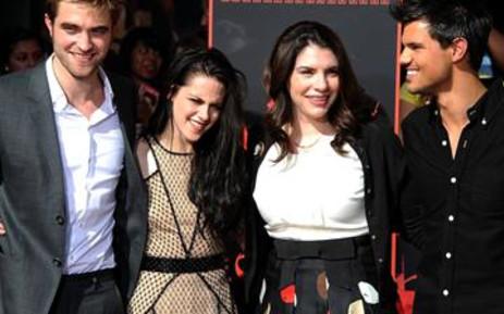 Actors Robert Pattinson (L), Kristen Stewart, Twilight Saga author Stephenie Meyer and actor Taylor Lautner. Picture: Valerie Macon/AFP