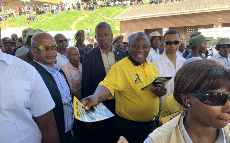 President Cyril Ramaphosa interacts with commuters at the Port Shepstone taxi rank in the run-up to the party's January 8 celebrations in KwaZulu-Natal. Picture: @MYANC/Twitter