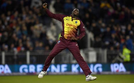 West Indies' Carlos Brathwaite celebrates his wicket of England's Liam Plunkett. Picture: Twitter  @westindies.