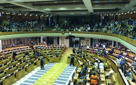 Would-be members of Parliament stroll into the National Assembly ahead of their swearing in. Picture: Jason Felix/EWN.