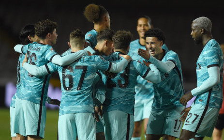 Liverpool players celebrate a goal during their English League Cup match against Lincoln City on 24 September 2020. Picture: @LFC/Twitter
