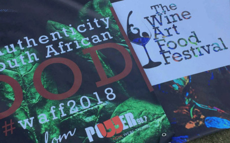 Posters displayed at the Wine Art Food Festival in Pretoria on 5 May 2018. Picture: Tshegofatso Mathe/EWN.