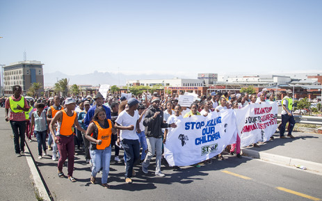 The Social Justice Coalition organised a march in the wake of Sinoxolo Mafevuka's murder to highlight policing issues in Khayelitsha on 15 March 2016. Picture: Aletta Harrison/EWN