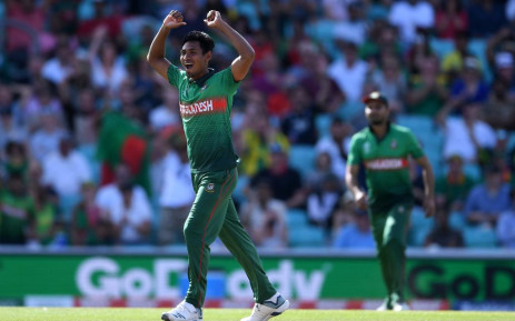 Mustafizur Rahman dismisses South Africa's Chris Morris falls for 10 at The Oval, London during their ICC 2019 Cricket World Cup match on Sunday. Twitter: @cricketworldcup