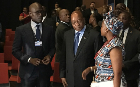 President Jacob Zuma seen with Head of World Economic Forum Ms Elsie Kanza and Finance Minister Malusi Gigaba at the World Economic Forum on Africa in Durban. Kgothatso Mogale/EWN.
