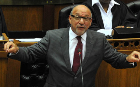 National Planning Commission minister Trevor Manuel addressing Parliament during the handing over of Revised National Development Plan to President Jacob Zuma. Picture: GCIS