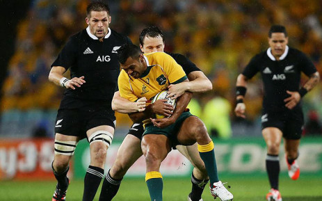 FILE: Ben Smith takes down Kurtley Beale while skipper Richie Mccaw prepares to join ruck in Sydney on 16 August 2014. Picture: Facebook.