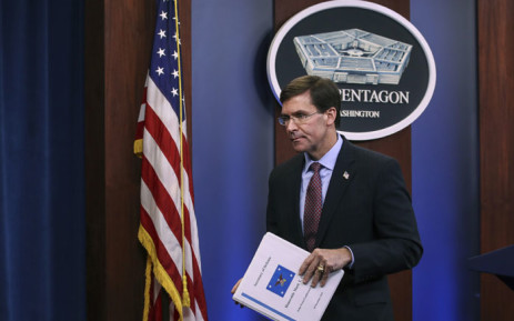 US Secretary of Defense Mark Esper exits after an end of year press conference at the Pentagon on 20 December 2019 in Arlington, Virginia. Picture: AFP